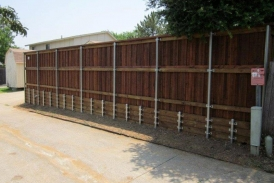 6' Board on Board Cedar with Treated Pine Retaining Wall